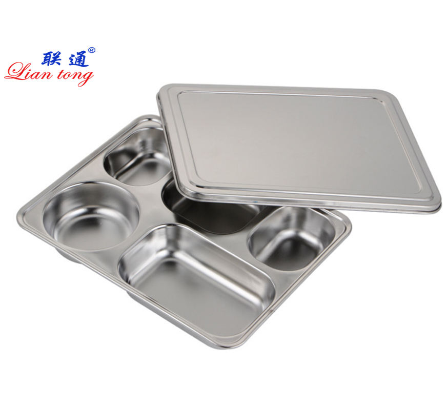 Food grade stainless steel SUS304 five compartments school lunch box fast food tray divided dinner plate tray with lid/cover