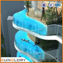 6mm 8mm 10mm 12mm 15mm 19mm Tempered Glass Swimming Pool