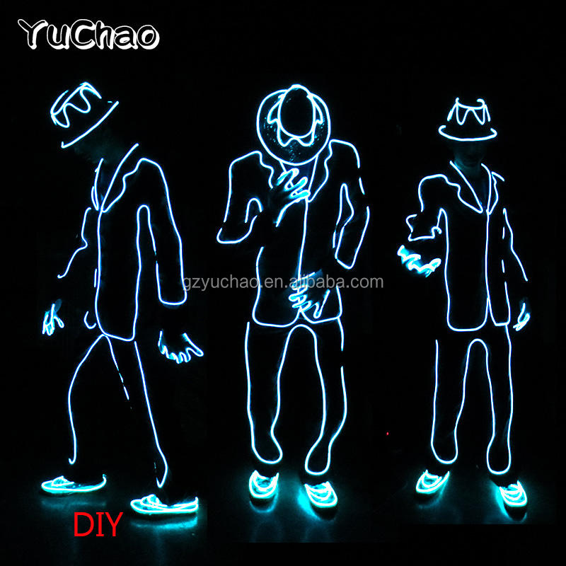 2019 New EL wire Suits Fashion LED Clothes Luminous Costumes Glowing Gloves Shoes Light Clothing Men Clothe Dance wear