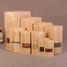 Eco-Friendly Zip Lock Packaging Bag Different Size Brown Kraft Food Paper Bag with window