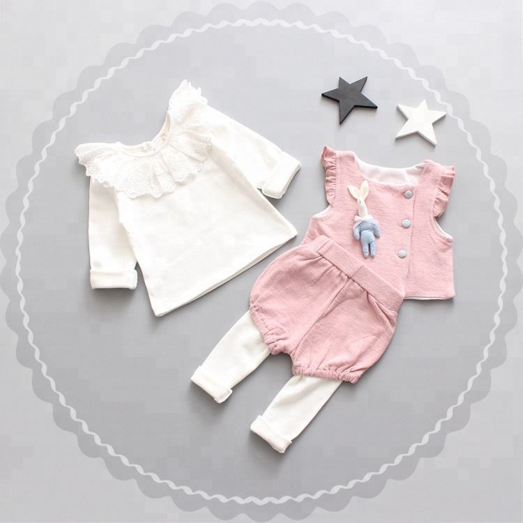 2019 New design girls fashion sweet three-piece female baby autumn cute princess out clothes