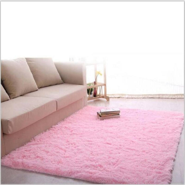 sale of shaggy silk polyester pink carpet per meter