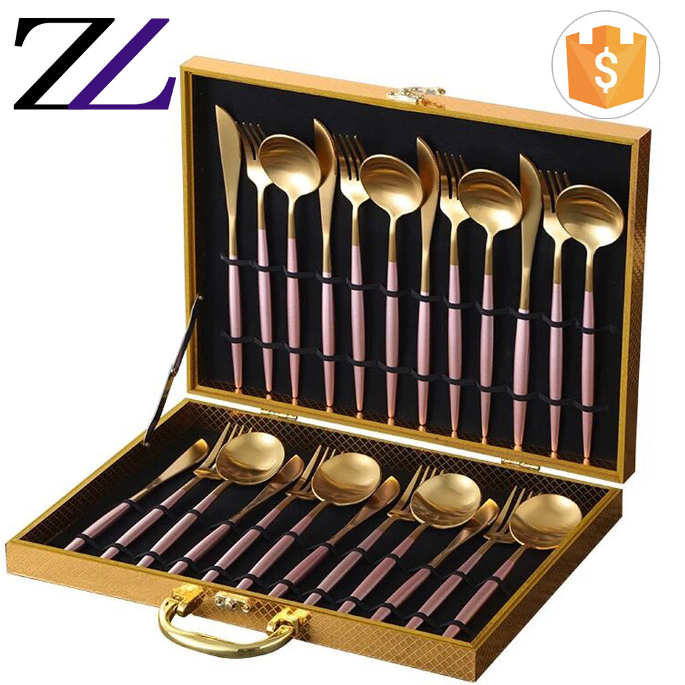 Names of cutlery set hoffmayer 24 pcs royal Luxury stainless steel gold flatware set, personalized travel cutlery set with case