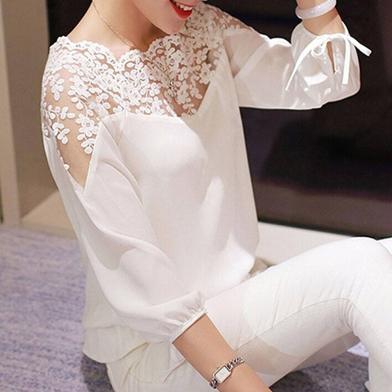New White Black Women Top Lady Blouse Long Sleeve Hollow Lace Casual Tops Chiffon Blouse