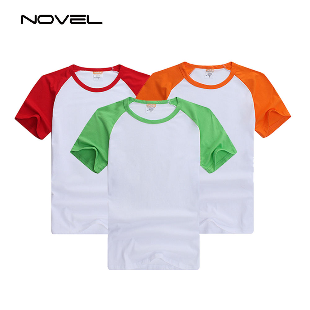 Popular Sublimation Blank Printing Short Shirt With Colorful Sleeve For Men/Women/Kids