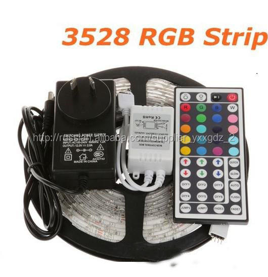 High quanlity 3528 flexible led strip light waterproof RGB +5A Power adapter +IR remote controller
