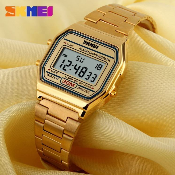China wholesale SKMEI 1123 LED digital watch metal stainless strap luxury gold wrist watch men women
