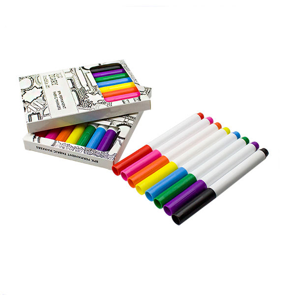 8 Pack Permanent Fabric Markers Pens Color Art Markers Dual Tip Minimal Bleed Stained Graffiti Coloring Textile Paint Pens