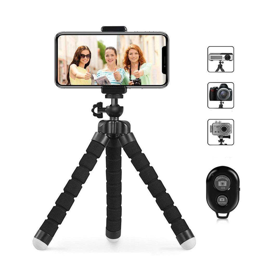 Cell Phone Tripod Portable and Adjustable Camera Stand Holder with Wireless Bluetooth Remote and Universal Clip Mobile Tripod