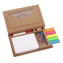 Personalized colorful self adhesive kraft cover memo sticky note pad with pen