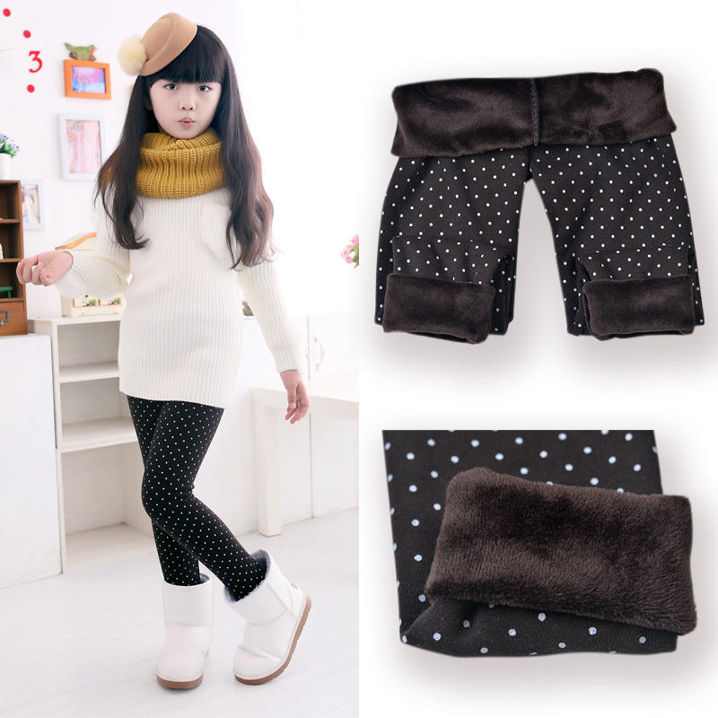 Colorful winter Polyester Spandex Cotton girls baby kids pants warm leggings