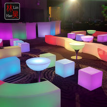 Commercial light up led bistro curved round high top standing portable cocktail interactive bar tables