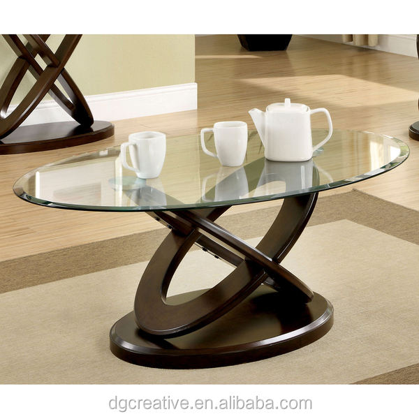 Evalline Oval Glass Top Coffee Table