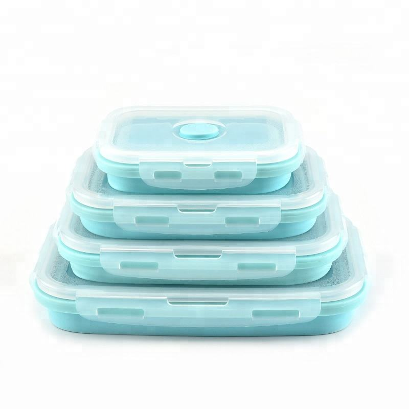 4 Pieces Per Set Lunch Box Silicone The Bins Collapsible Container Silicone