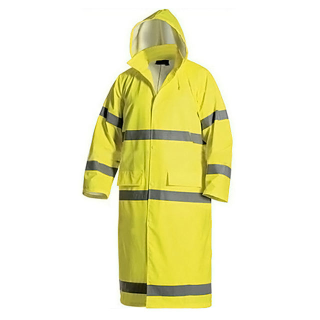 Unisex OEM Traffic Police Safety Cloth Long Hooded Reflective Rain Jacket High-visibility Waterproof Yellow Safety Coat