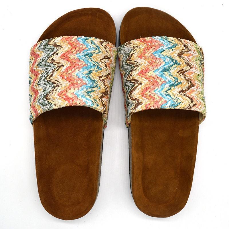 Fashion Brazil PU Upper Slide Shole Soft Footbed Beach Nudes Cork Sandals