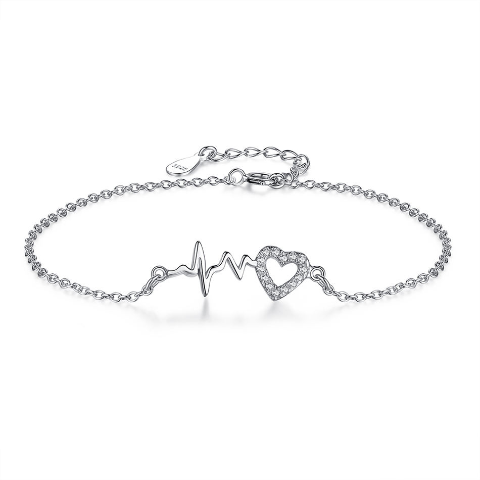 Real 925 Sterling Silver Heart Charm Bracelet for Woman Chain Link Bracelet with Clear Zirconia Adjustable Jewelry Gift