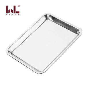 Stainless Steel Tray Rectangular Cafeteria Plate Food Serving Plate Baking Tray