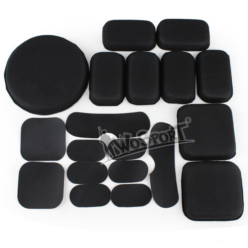 Wosport Military Tactical Helmet Sponge Pads +Magic tape set 19 pieces Protective EVA Head Cushion for Helmet