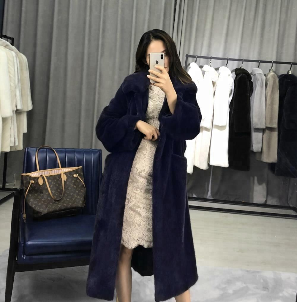 Japan Style Wholesale 90cm White Plus Size Long Mink Loose Fur Coat For Ladies