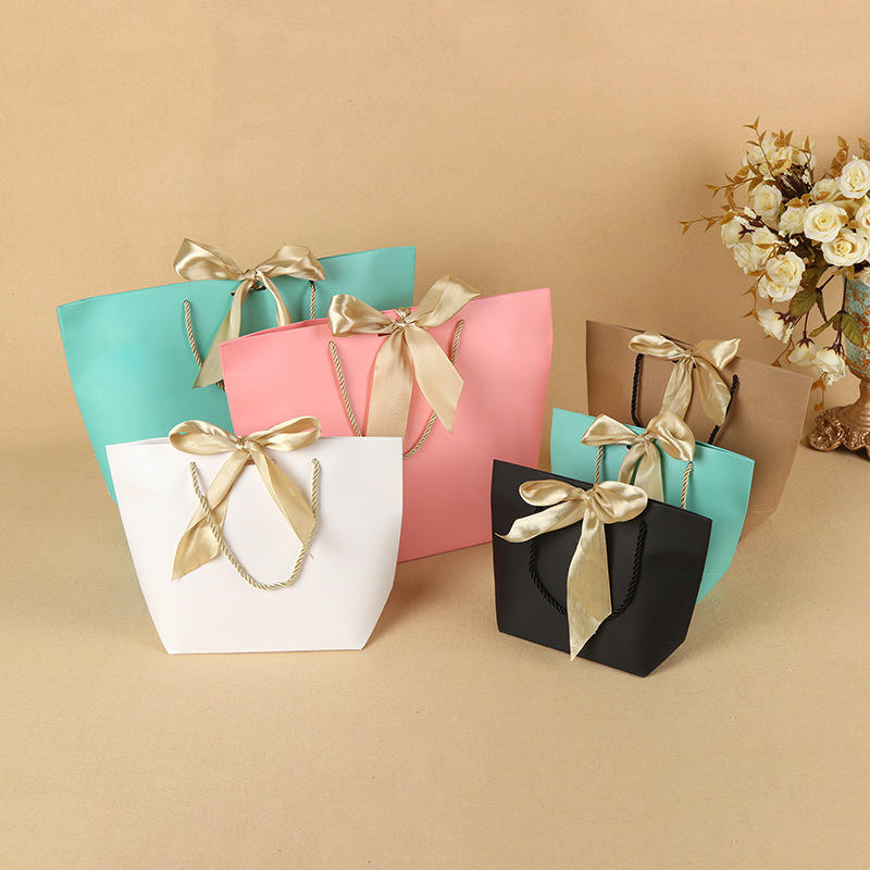Small Lovely Fancy Recycled Printed Gift Packaging Promotional Paper Bag with Ribbon Bow Tie