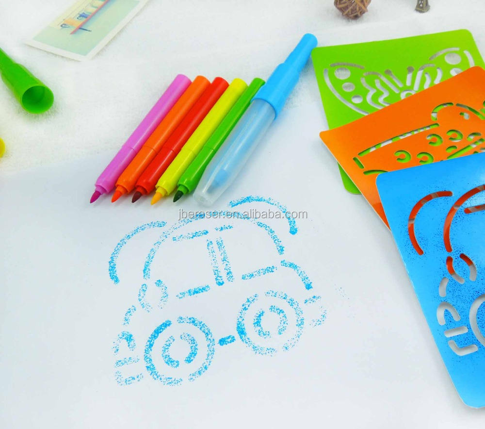 washable ink toy spray painting kids water color blow pen with template