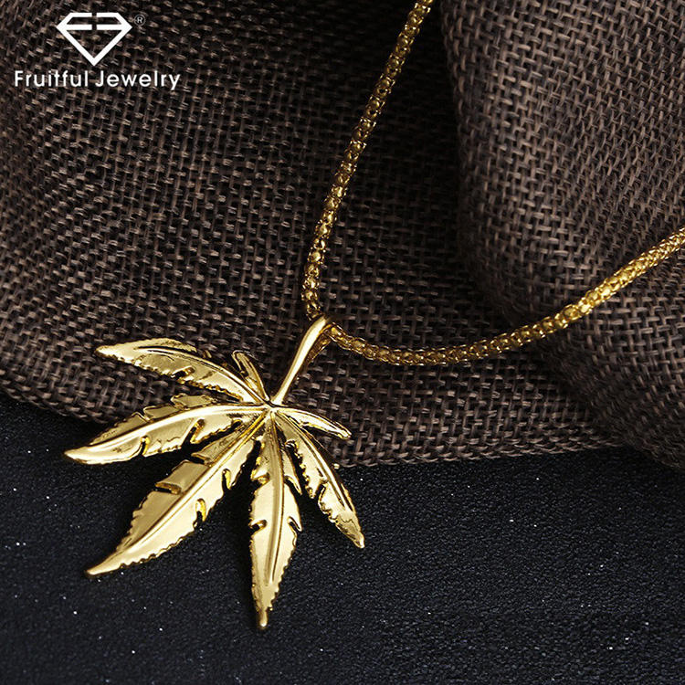NKEL High quality custom made big leaf necklace gold silver personality maple leaf Men Tide jewelry pendant