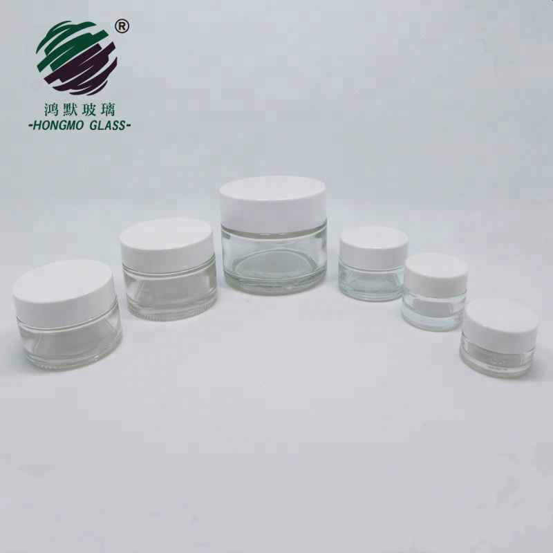 wholesale 5g 10g 15g 20g 30g 50g empty cosmetic white airtight glass cream jar with spoon and white plastic lid