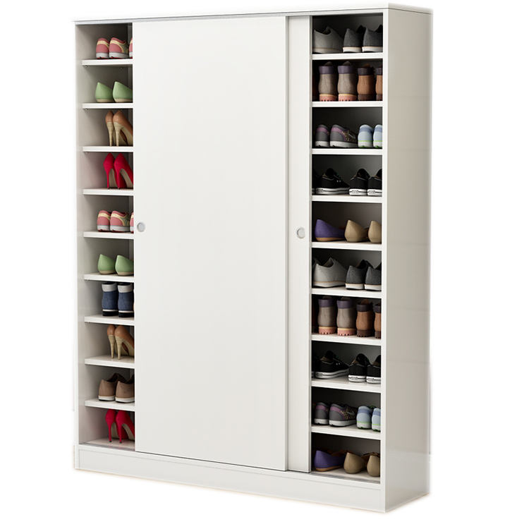 High quality large storage 50 pairs of shoes modern design sliding door wooden shoe store cabinet for living room