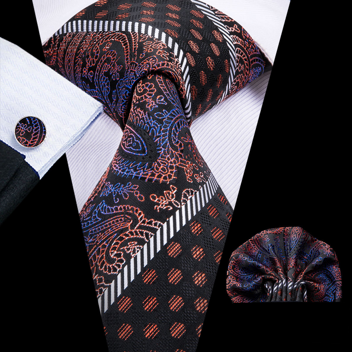 Mens Neckties 100% Silk Top Quality Ties Striped Pattern Brown Fashion Necktie Set