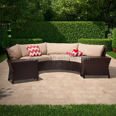 Simple designed outdoor and living room use half round sofas set wholesale rattan leisure furniture
