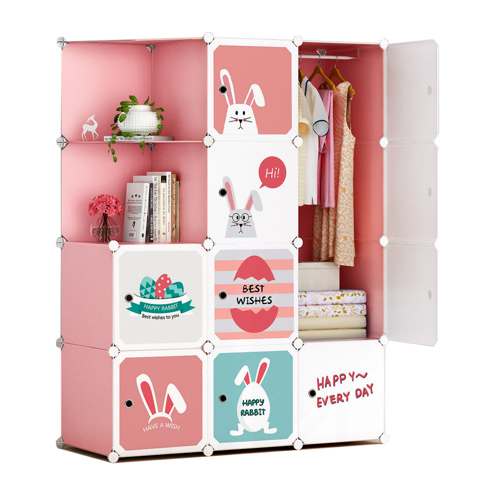 OEM New Modular Cube Plastic Bedroom Armoire Storage Cabinet Cupboard Foldable Colorful Kids Wardrobe Design