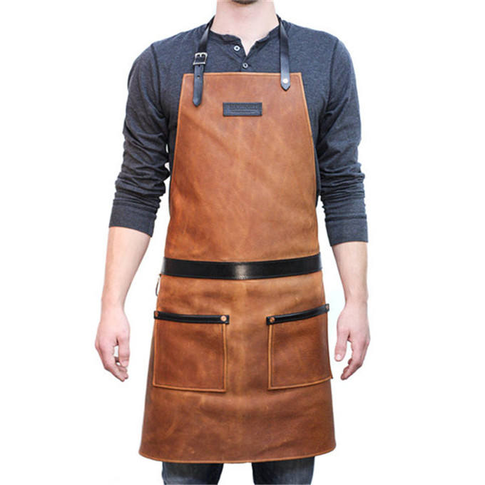 China Wholesale High Quality Eco-Friendly Material Brown Adjustable Kitchen Leather Apron With Pockets