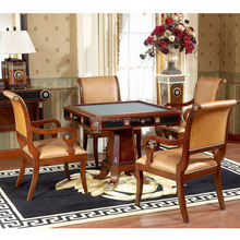 YB10 Luxury Italy mahogany Royal palace 4 chairs Dining Room Furniture Chess-Poker card Room table for villa president room