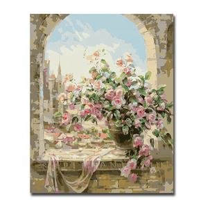 Decorative Canvas Wall Art DIY Digital Painting Flower Oil Painting By Number DIY For Kids