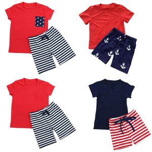 2019 summer wholesale children boutique kids clothes stock no moq short sleeve baby t shirt boys clothing set