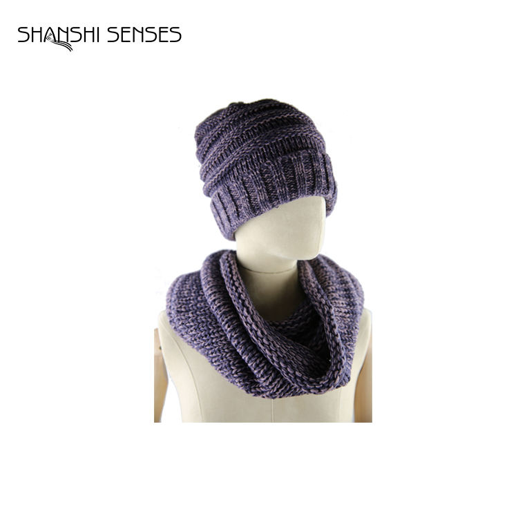 Best quality acrylic knitted women scarfs and hats