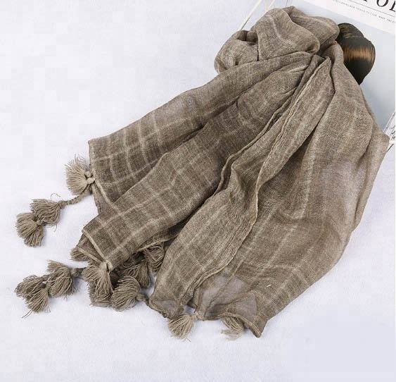 Cotton Polyester Blend Washed Plaid Scarf with Pompom Tassels