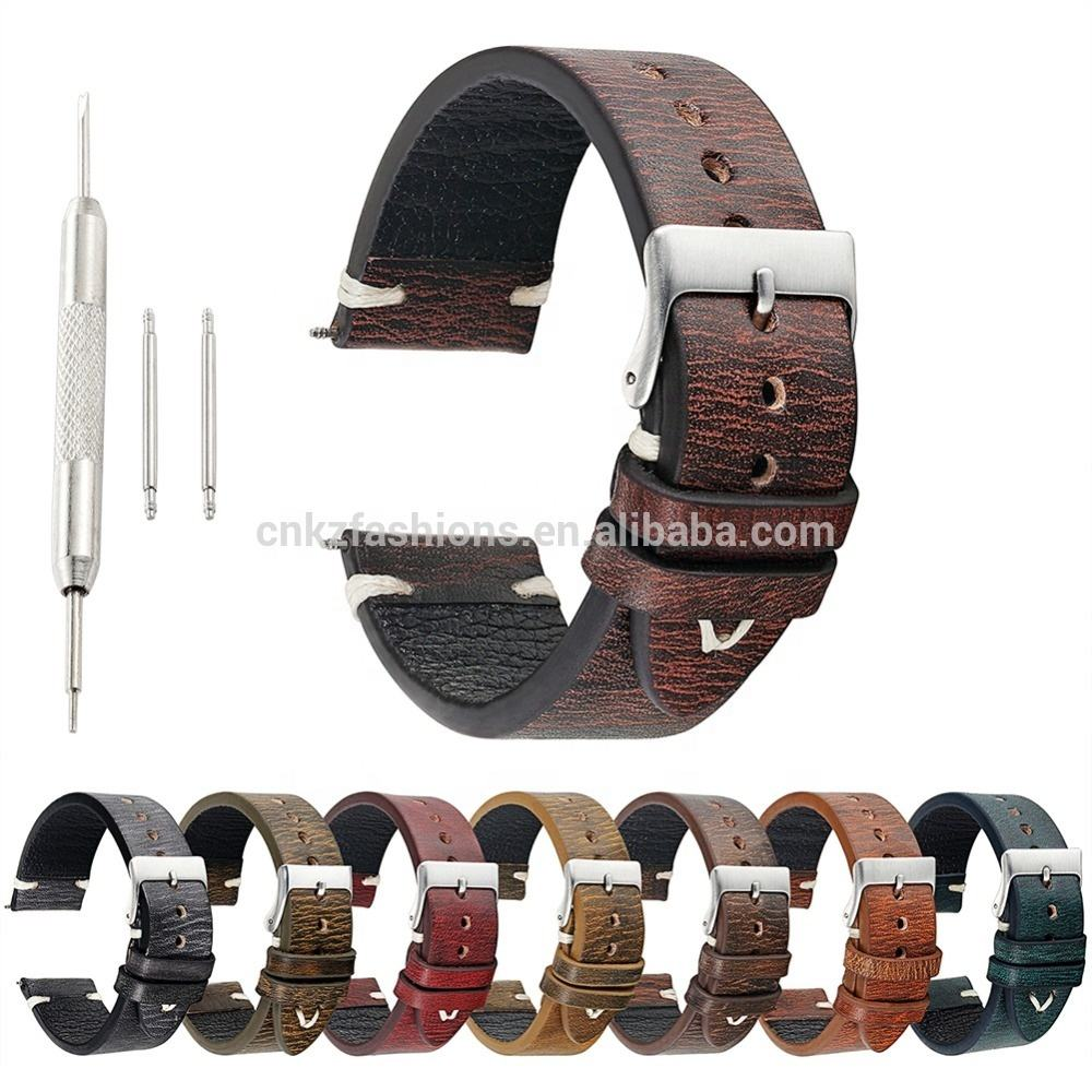Vintage brown watch strap 18mm 20mm 22mm 24mm handmade genuine leather watch band