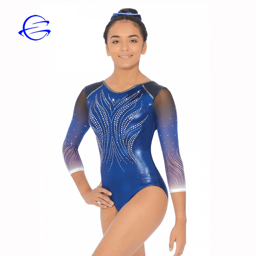Custom Design Wholesale Team Dance Wear Rhinestone Sublimation Mesh Long sleeve Children Leotards Gymnastics Girls