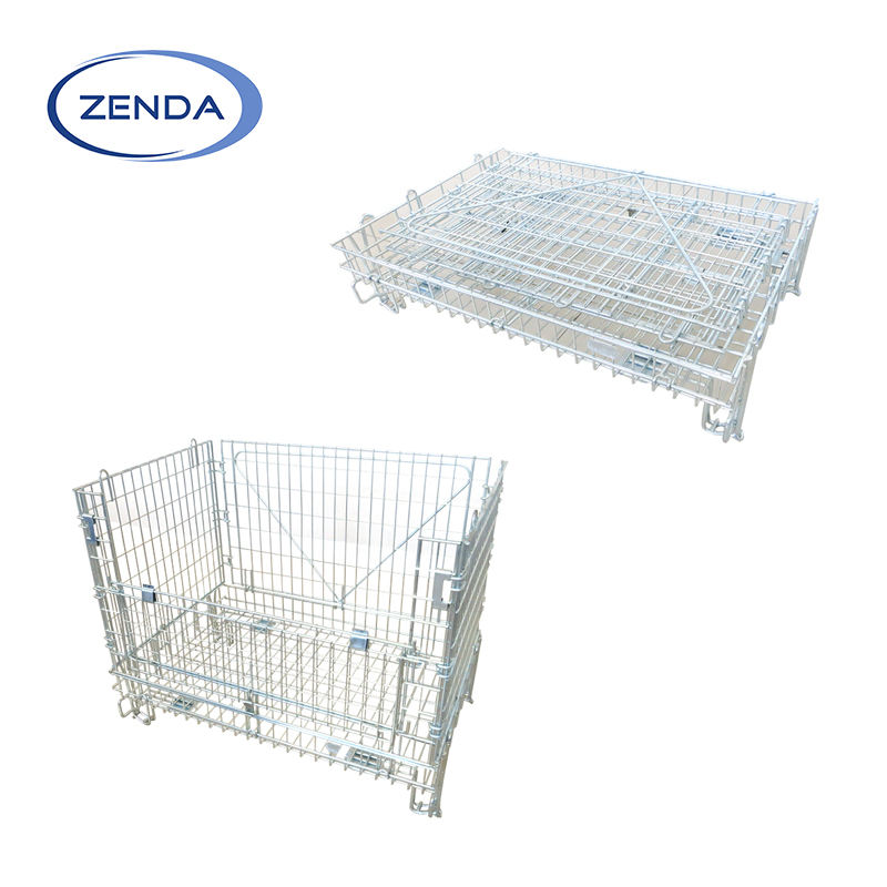 Galvanized wire mesh container storage cage for cargo storage