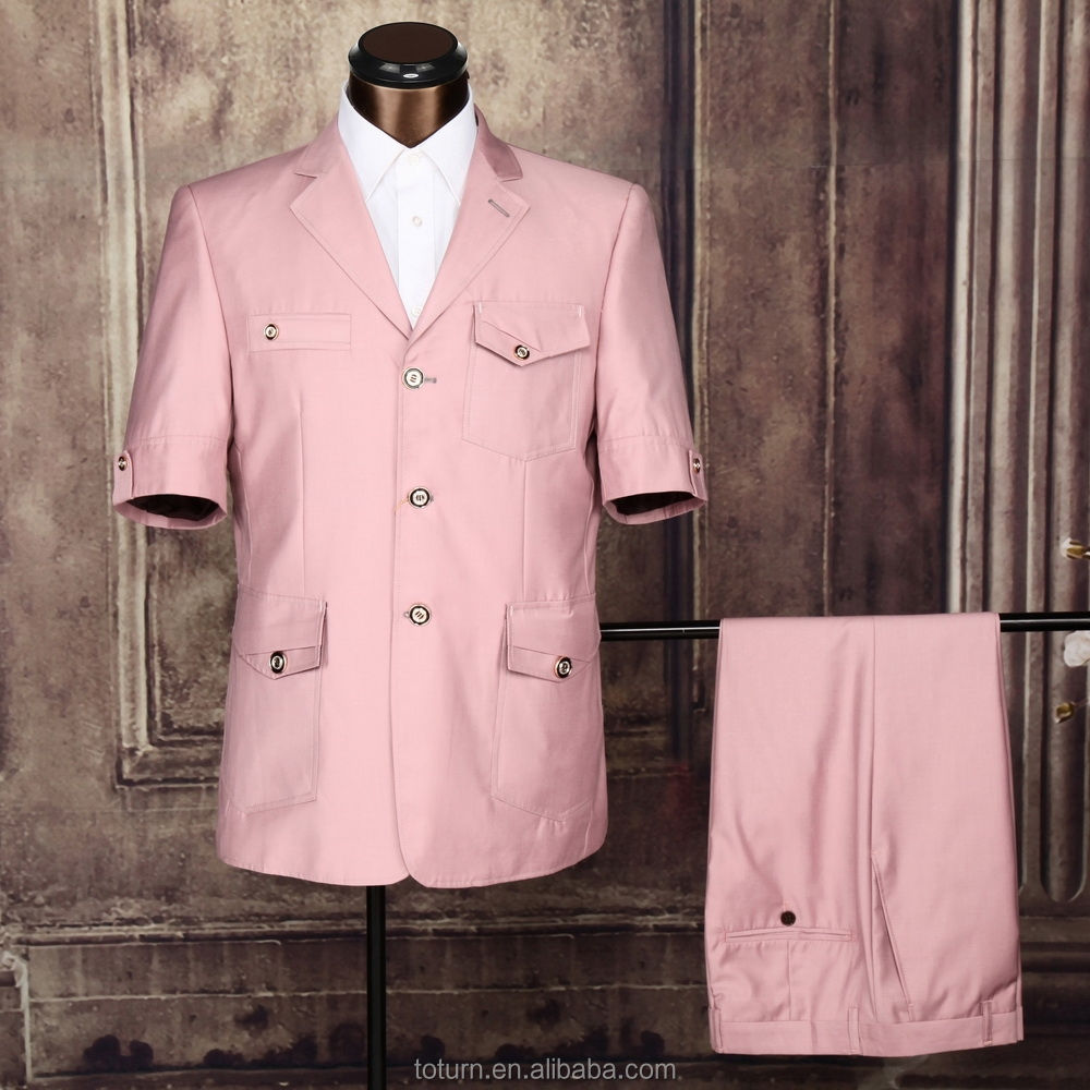 Mens pink beautiful short sleeve suit indian design safari suit