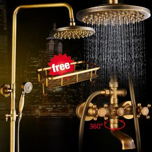Antique Brass Shower Faucets Set 8'' Rainfall Shower Commodity Shelf Dual Handle Mixer Tap Swivel Tub Spout Bath Shower