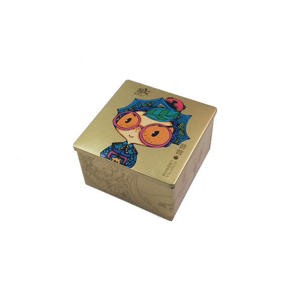 Colorful iron printing small cube tin box square tin box for tea packaging