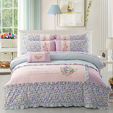 Wholesale floral patchwork coverlet set 4pcs cotton flower patchwork bedspread