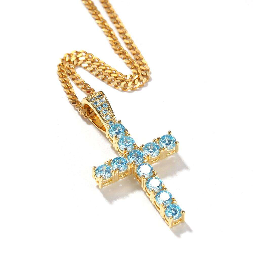 blue glass real charms gold plating men's hip hop blue diamond glass cross pendant necklace