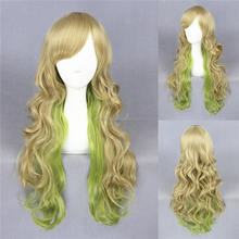 Hot sale 60cm Long Heat Resistant Synthetic Hair blonde green col mixed curly wave Lace Front Cosplay lolita Wigs