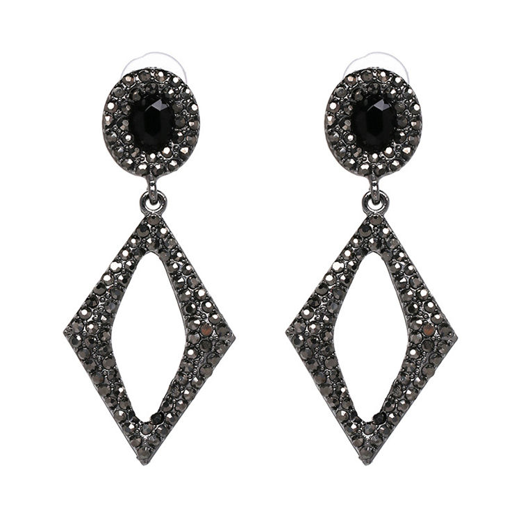 Kaimei European American retro style personality square geometry black diamond vintage statement drop earrings 2018 geometric