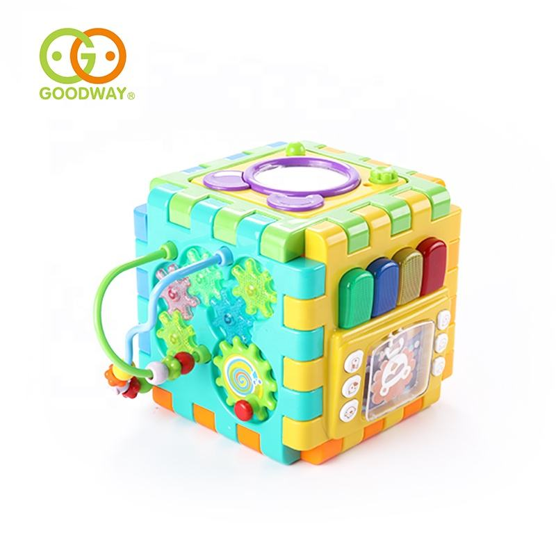 cartoon activity cube baby educational toys shape sorter musical for early learning