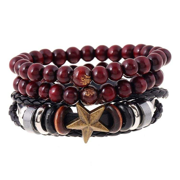 Fashionable DY Men Braided Leather Star Pendant Red Wood Bead India Buddhism Prayer Bracelet